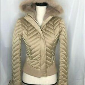Bebe silk jacket rabbit fur corset tan gold lace